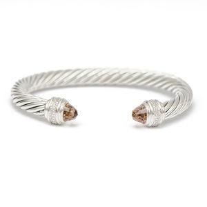 DAVID YURMAN 7mm Cable Cuff w Morganite & Diamond